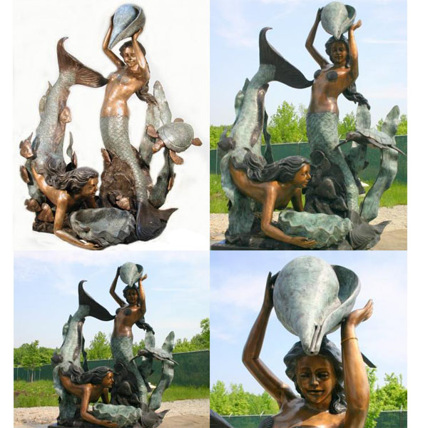 2015 high quality bronze mermaid fountain for sale