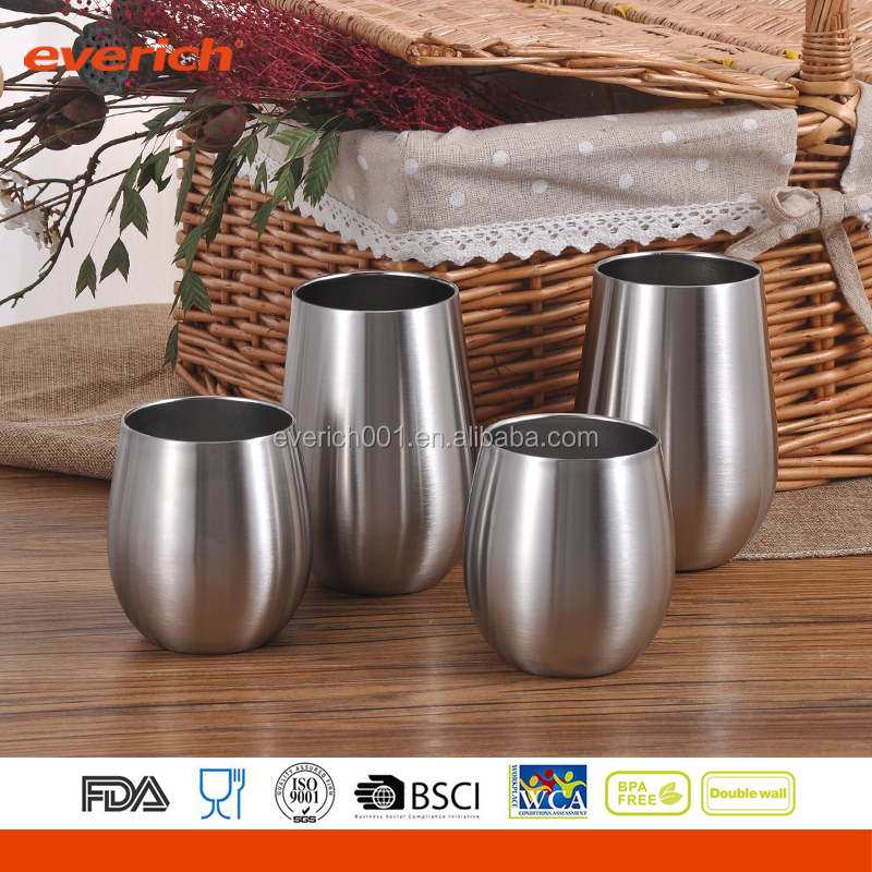 BPA FREE Double Wall Insulated Stemless Stainless Steel Wine Glasses