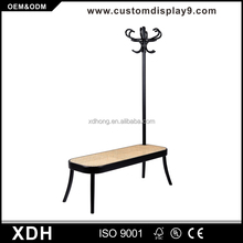Unique design wood coat rack display stand with rattan bench
