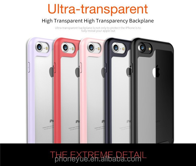 Ultra Thin Anti-Scratch Silicone Soft Silicone Frame+ High Transparent PC Back Phone Case For iPhone