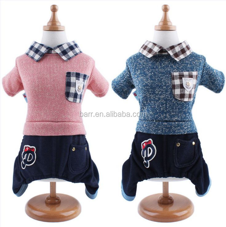 grid collar pocket knitting cowboy suit Four legs dog collar Pet clothes