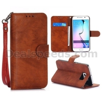 Retro Style Wallet Magnetic Flip Stand PC + PU Leather Case for Samsung Galaxy S6 G9200 With Strap Red Wood Color