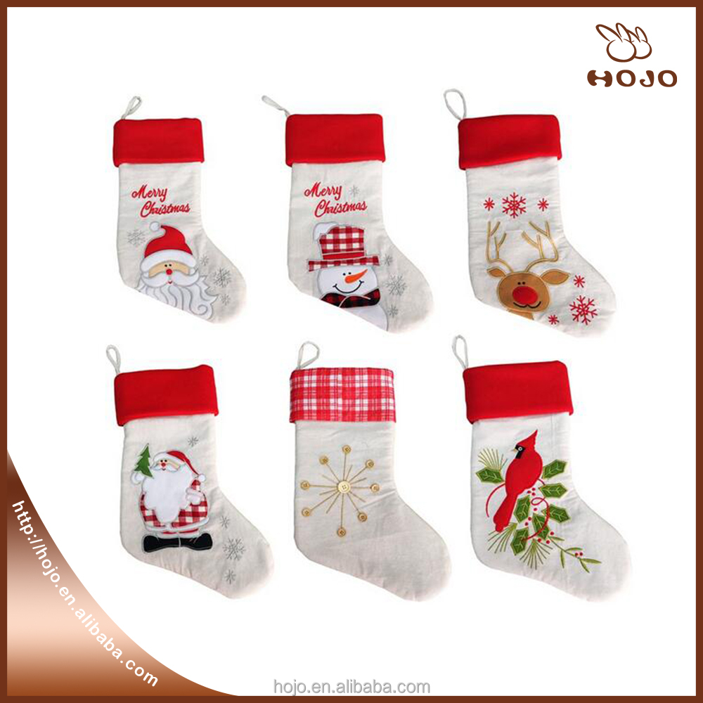 20 inches Christmas Socks Flax Decoration for Gift Candy Packing