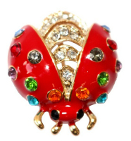 Gold Plated Colorful Crystal Red Enamel Ladybug Bug Brooch pin Fashion Women Jewelry