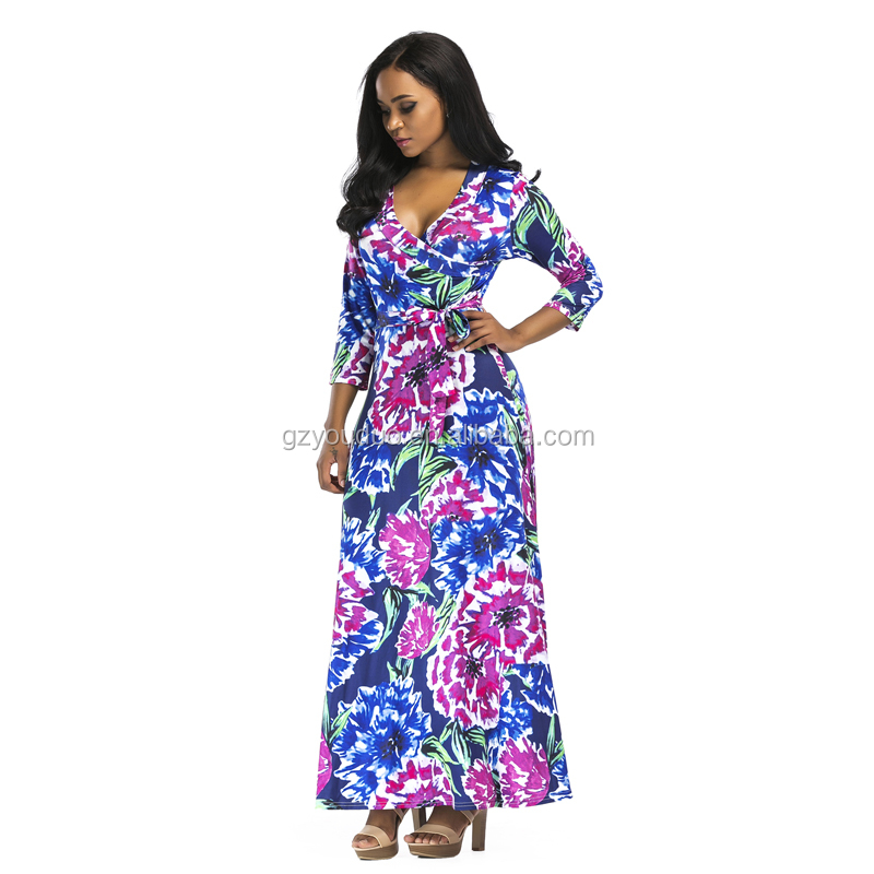 Fashion Latest Design Full Floral Vintage Tall Tube Women Sexy Maxi Dress Long Maxi Dress