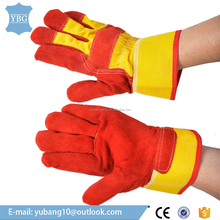 Cow-split Glove Unisex Leather Gloves Garden & Working Gloves Red Yellow