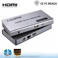1080P HDMI KVM Extender over Single Cat5e/6 Ethernet Cable up to 395ft Support USB Keyboard & Mouse