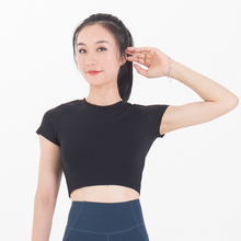 Short Sleeve Basic Style Crop Top Smooth Process Nylon Spandex Tops Very Soft T Shirt Women
