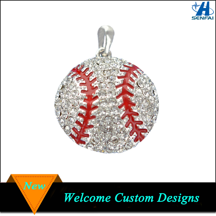 Alibaba Website Wholesale Crystal Baseball Charms Rhinestone Baseball Charm