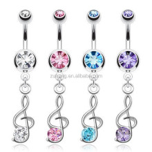 316L Stainless Steel Gem Treble Clef Music Note Dangle Belly Navel Bars