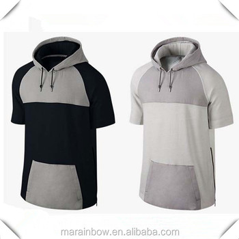 Fashion Design Mens Short Sleeve Gym Hoodie 100% Cotton Paneled Pullover Hoodie Color block Hoodie with Side Zippers
