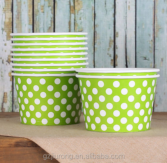 Disposable lime green ice cream paper cup
