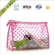 fashion style Simple wave point transparency girls Cosmetic Bag PVC bag,clear pvc ziplock bag
