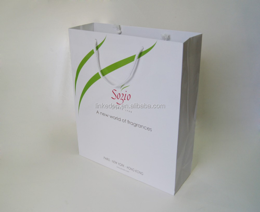 Fragrances and cosmetics gift paper bag - white glossy lamination , cotton rope handle