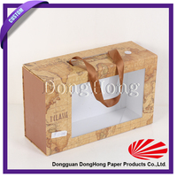 Collapsible cardboard carry case, cardboard carry box with window and handle