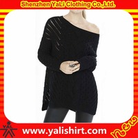 New style comfortable oversized black cotton/polyester hollow out side splits ladies beautiful sweaters