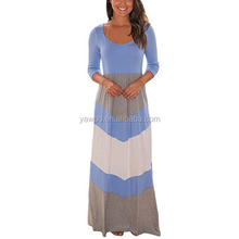 Yawoo wholesale party dresses women fashion maxi v long sleeve cotton fabric solid color lady dresses