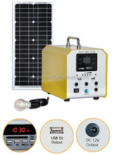 Metal 5W 10W 20W portable mini solar home lighting kit with moblie charger