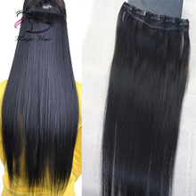 Virgin Brazilian human hair 3/4 Full head One Piece clip in hair extensions with 5 clips