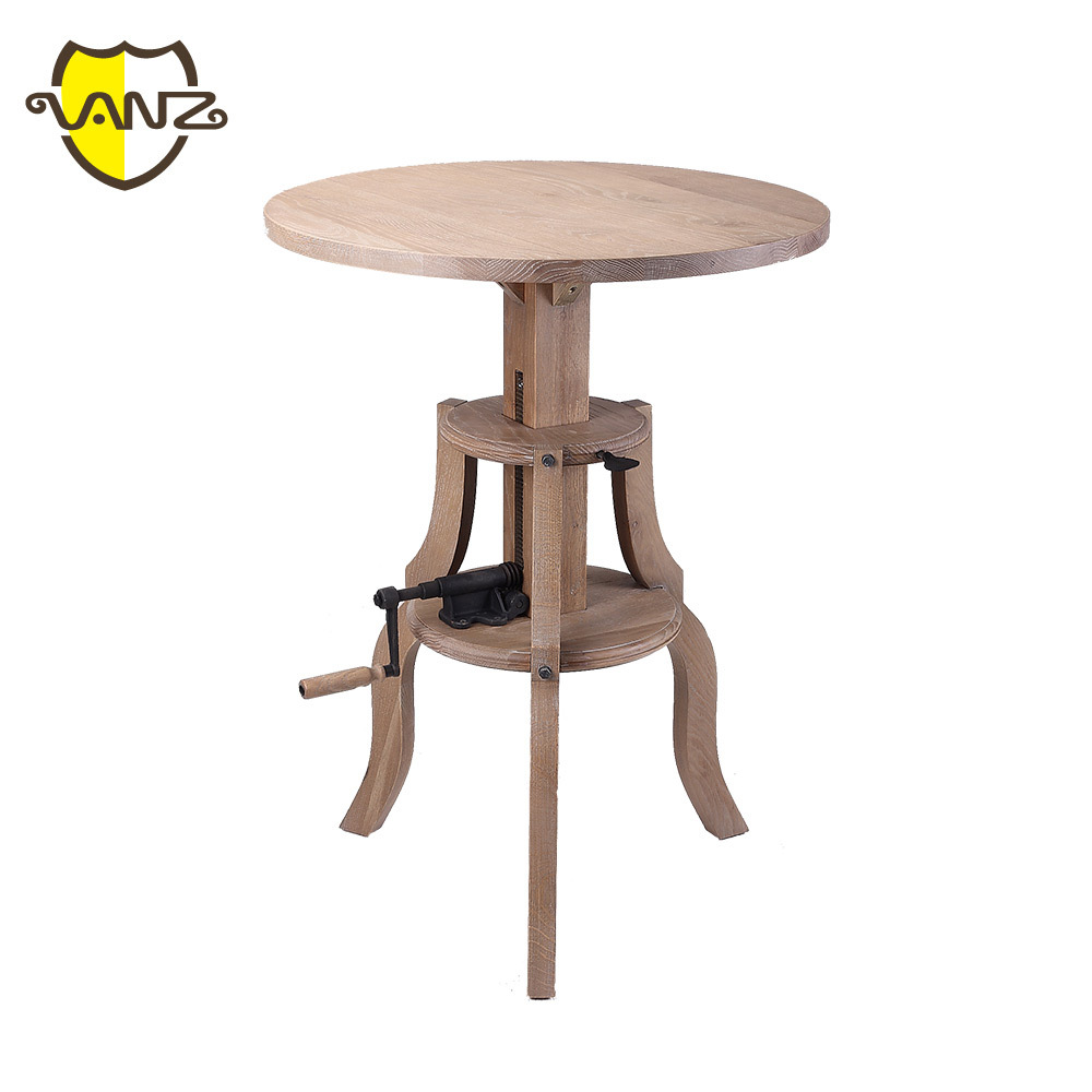 VZD005 Oak Round Adjustable Wood Bar High Table