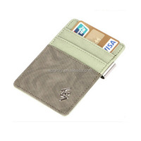 Promotional Genuine Leather Unisex Green Slim Card Case Super Thin Fashion Card Holder Compact Wallet
