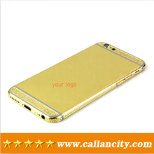For iphone housing custom with crystal cover gold for iphone 6 plus gold housing 24k