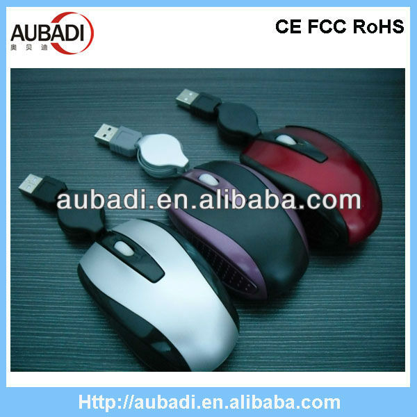 Low price mini wired fancy optical mouse with retractable cable