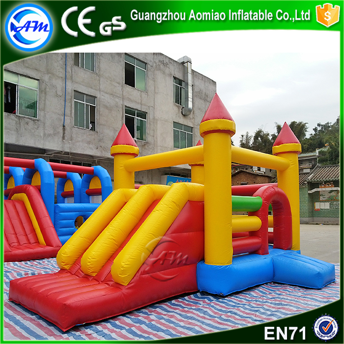 Newest PVC inflatable bouncy castle with water slide for sale