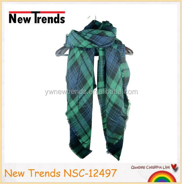 Colorful plaid cashmere tassels sqaure tartan blanket scarf