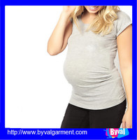 Wholesale plain design round neck maternity t shirt order from china direct