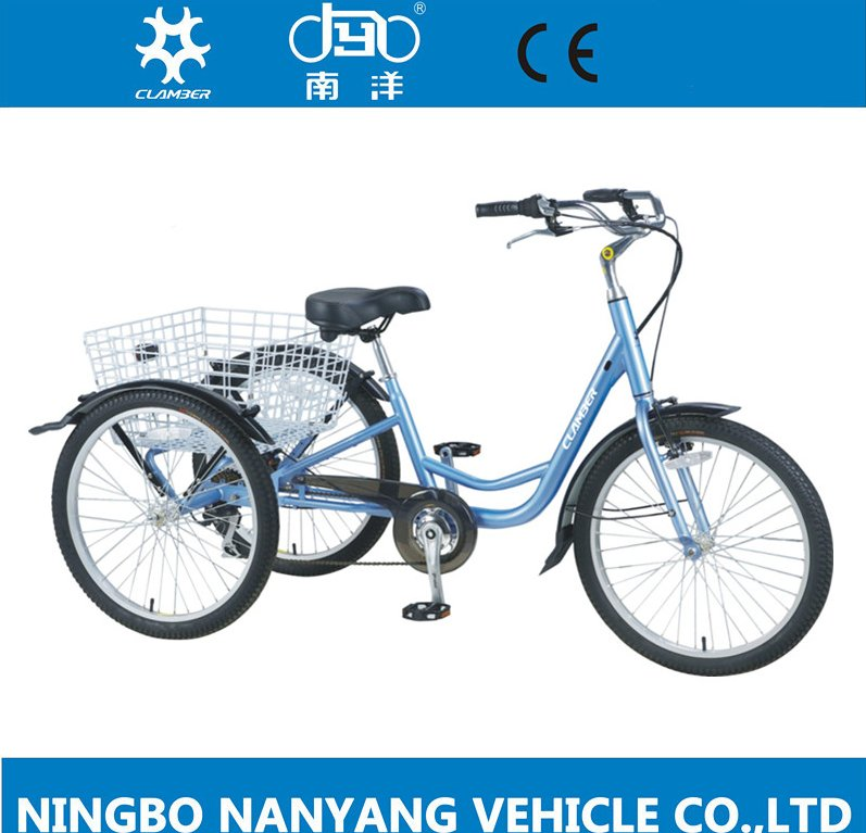 high quality 24 inch steel frame pedal adult delivery cargo tricycle with basket for disabled old people