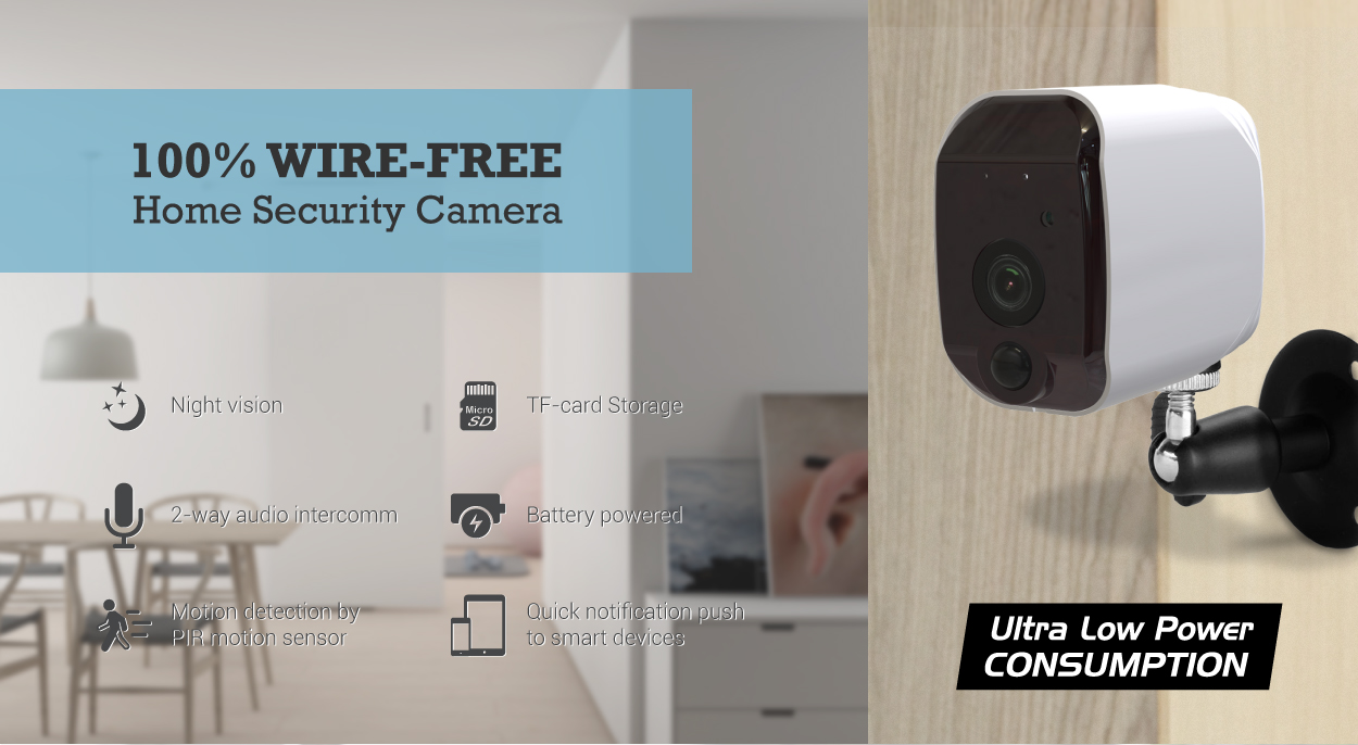 IR remote control wireless smart home battery camera  with night vision and motion sensor