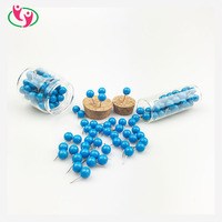 Decorative Blue Color Plastic Beads Round Head Shaped 6mm Push Pin