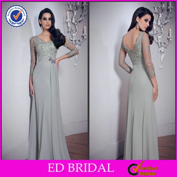 EDM076 Flowing Chiffon Rhinestone Beaded Silver Lace Mother of the Bride Dresses