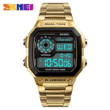 TOP 10 SKMEI 1335 Steel chronograph watch Hot sales Digial Quartz Dual Movement Sports Watch Men Hot mens watches in wristwatch