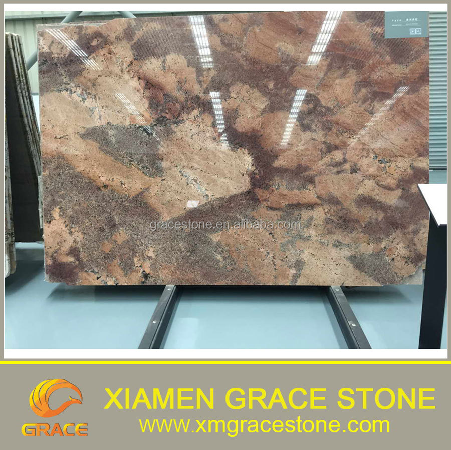 Polished Indian Juparana Bordeaux red granite slabs for sale