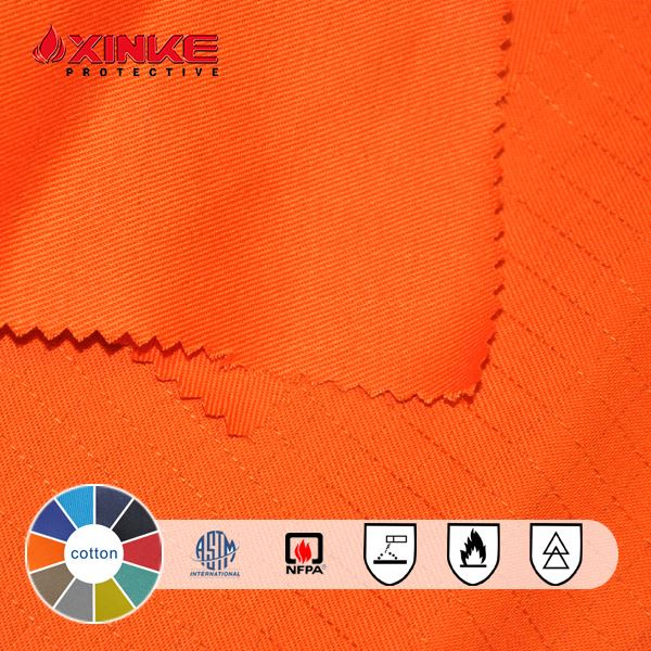 280gsm cotton FR satin fabric with antistatic