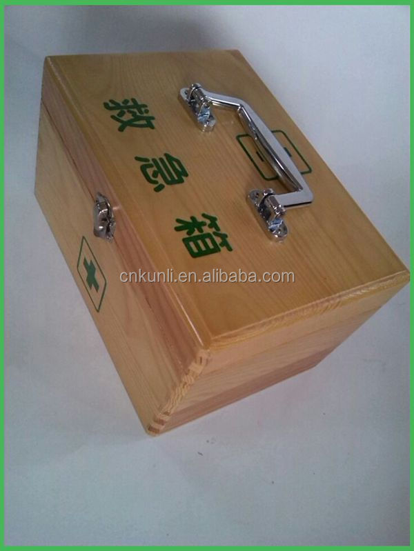 Factory direct high quality cheap household wood medicine chest wooden first aid box