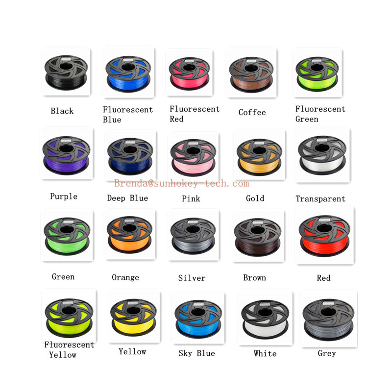 Sunhokey 1KG PLA/ABS PETG/Hips/Silk/Rainbow/TPU/PVA/Color Change/Alluminum 3D Printer Filament 1.75 Accept Branding Logo