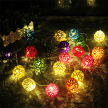 HT 2M LED Warm White 20 LED Rattan Ball String Christmas Tree Light Garden Wedding Party Holiday Decoration Fairy Lights