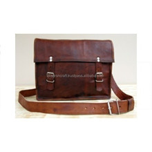 Goat Leather Messenger Laptop Bag carry bag