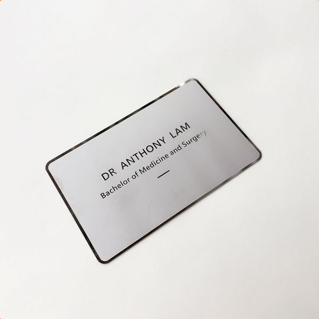 Customized engrave name and logo silver metal business card