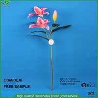 Cheap wholesale handmade pink artificial lily single stem flower for wedding decoration