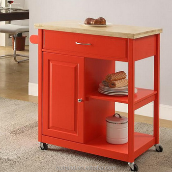 wooden mobile kitchen cart with cabinet and wheels design