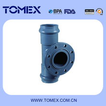 PVC equal tee rubber socket with flanged branch