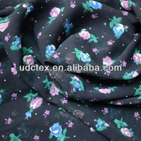 Polyester chiffon with flower printing for fashion skirt