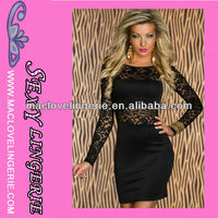 Newly Fashion Sexy Black Long Sleeve Lace Formal Cocktail Party Wear Club Dress