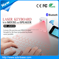 Shenzhen Bribase Factory portable infrared keyboard/laser keyboard with Mouse and Bluetooth speaker functions for iphone/ipad..