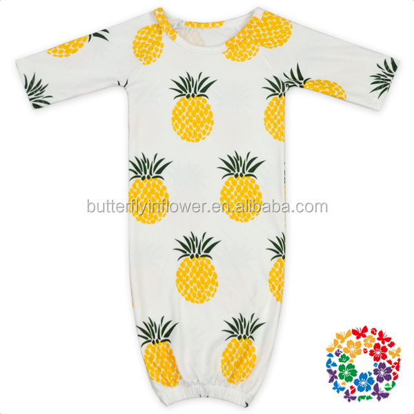 Pineapple Printed Long Sleeve Kids Gown Dresses 0-2 Years Old Baby Gown Sleeping