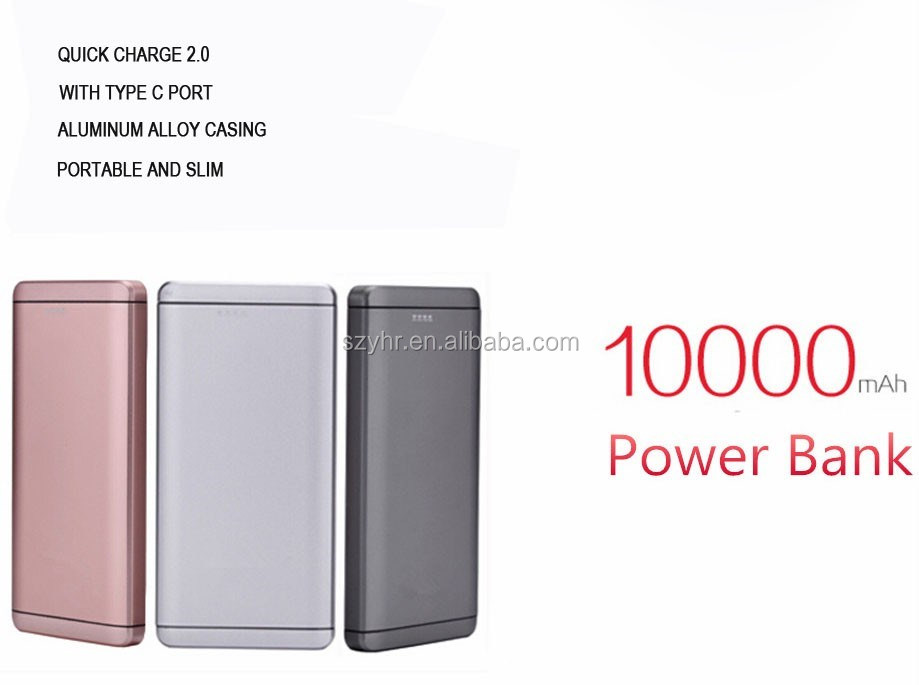 Lastest new model 10000mah power bank qc2.0 with dual outputs